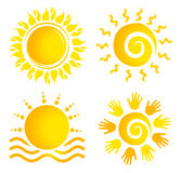 Комплект логотипа Солнця иллюстрация вектора