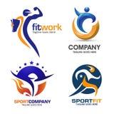 Комплект логотипа спорта и фитнеса Стоковое Изображение