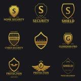 Комплект логотипа экрана Компания защиты Безопасность радетель также вектор иллюстрации притяжки corel бесплатная иллюстрация