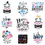 Комплект логотипа, ярлыков и иллюстраций дня рождения бесплатная иллюстрация