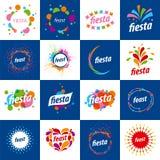 Комплект логотипов вектора на праздники иллюстрация штока