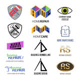Комплект логотипов вектора ремонтных услуг или конструкции бесплатная иллюстрация