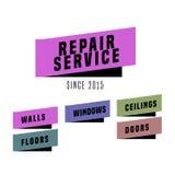 Комплект логотипов вектора ремонтных услуг иллюстрация вектора