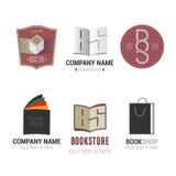 Комплект логотипов вектора bookstore или библиотеки иллюстрация вектора