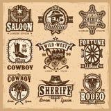 Комплект логотипов Диких Западов вектора Стоковые Изображения RF