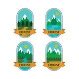 Комплект логотипов и значков, мероприятий на свежем воздухе иллюстрация вектора