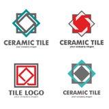 Комплект логотипов керамических плиток также вектор иллюстрации притяжки corel Стоковые Изображения