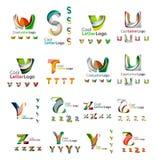 Комплект логотипов красочного абстрактного письма корпоративных Стоковая Фотография RF