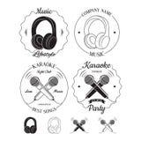 Комплект логотипов музыки и караоке, ярлыков, значков и элементов дизайна Стоковые Фото