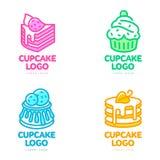 Комплект логотипов пирожного для хлебопекарни, кофейни, магазина торта иллюстрация штока