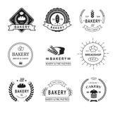 Комплект логотипов, ярлыков, значков и дизайна хлебопекарни Стоковое Фото