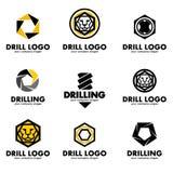 Комплект логотипов для инструмента, бурового наконечника, сверля также вектор иллюстрации притяжки corel Стоковое Изображение RF