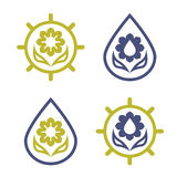 Комплект логотипов eco цветка, солнце и вода падают Стоковые Фотографии RF