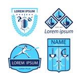 Комплект ограждать резвится логотипы, значки, ярлыки, эмблемы, значки на белой предпосылке бесплатная иллюстрация