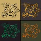 Комплект 4 оконтурил абстрактные цветки иллюстрация штока