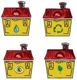 Комплект домов с красными крышами также вектор иллюстрации притяжки corel Стоковые Фотографии RF