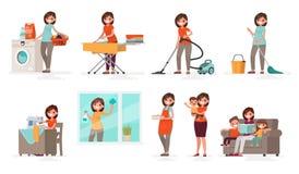 Комплект домохозяйки женщины дел Мать моет, утюги, вакуумы, c иллюстрация штока