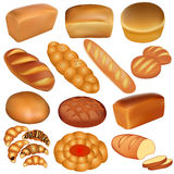 Комплект ломтей хлеба и белизны Стоковые Изображения