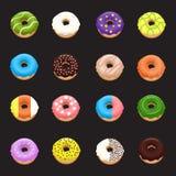 Комплект донута Значки Donuts Стоковые Фотографии RF