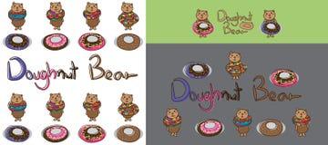 Комплект донута медведя иллюстрация вектора