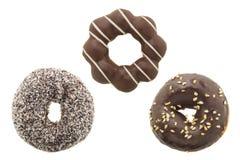 Комплект донута шоколада изолированный на белизне Стоковое фото RF
