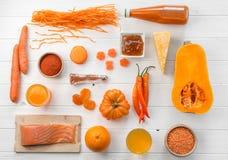 Комплект оранжевых объектов, тыквы и морковей, topview Стоковая Фотография