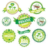 Комплект органических/био/естественных логотипов и значков Стоковая Фотография