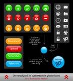 Комплект ориентированных на заказчика кнопок и значков сети иллюстрация штока