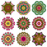 Комплект орнамента круга, орнаментальный круглый шнурок Стоковые Фото
