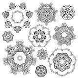 Комплект орнамента черно-белой мандалы круглый Стоковое Изображение RF