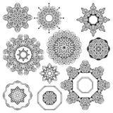 Комплект орнамента черно-белой мандалы круглый Стоковые Изображения