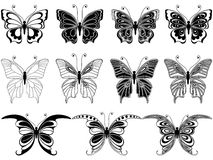 Комплект 11 орнаментальных бабочек иллюстрация вектора