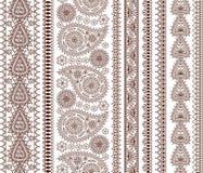Комплект орнаментальных безшовных границ в индийском стиле Стоковое Изображение