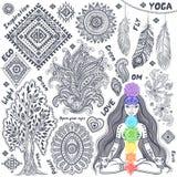 Комплект орнаментальных индийских символов Стоковое Фото
