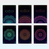 Комплект орнаментированных плакатов мандалы Стоковые Изображения