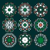 Комплект орнаментов мандалы вектора Ислам, арабский, индийский, мотивы тахты Стоковое фото RF
