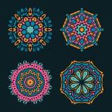 Комплект орнаментов мандалы вектора Ислам, арабский, индийский, мотивы тахты Стоковые Фотографии RF