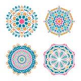 Комплект орнаментов мандалы вектора Ислам, арабский, индийский, мотивы тахты Винтаж Стоковые Изображения RF