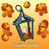Комплект осени держателя для свечи, листьев и яблок Стоковая Фотография RF