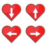 Комплект лоснистых значков кнопки сердца для вашего дизайна Стоковая Фотография