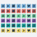 Комплект лоснистых покрашенных значков кнопок для веб-дизайна иллюстрация вектора