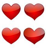 Комплект лоснистых сердец, дизайн вектора значка Стоковые Фото
