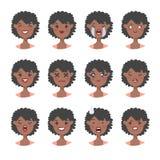 Комплект острого характера прений Emoji стиля шаржа Изолированные черные воплощения девушки с различными выражениями лица Плоская Стоковое Изображение RF