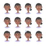 Комплект острого характера прений Emoji стиля шаржа Изолированные черные воплощения девушки с различными выражениями лица Плоская Стоковые Фотографии RF