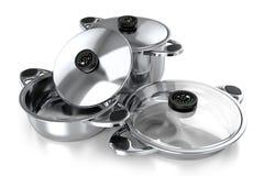 Комплект лотков для кухни и 3d варить бесплатная иллюстрация