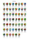 Комплект отметки карты с флагами Африки Стоковые Фото
