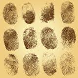 Комплект отпечатков пальцев на винтажной предпосылке Стоковые Изображения RF