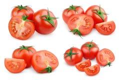 Комплект отрезанных красных овощей томата на белизне Стоковые Изображения