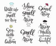 Комплект оформления цитат дней осени дождя Стоковое Фото