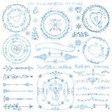 Комплект оформления doodle зимы Венок, рамка, граница, лента Стоковая Фотография RF